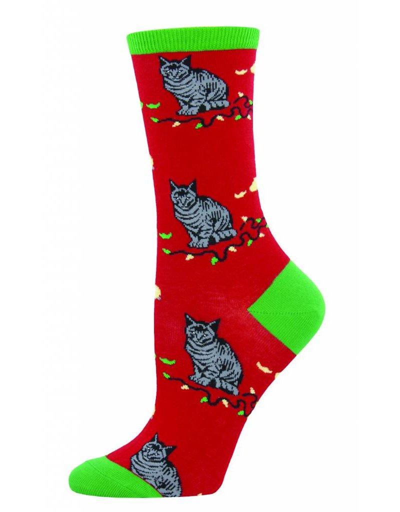 Socksmith Socksmith - Christmas Cat-Astrophe - Red - WNC722 - Crew - Women's