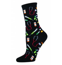 Socksmith Socksmith - Meds - Black - WNC394 - Crew - Women's
