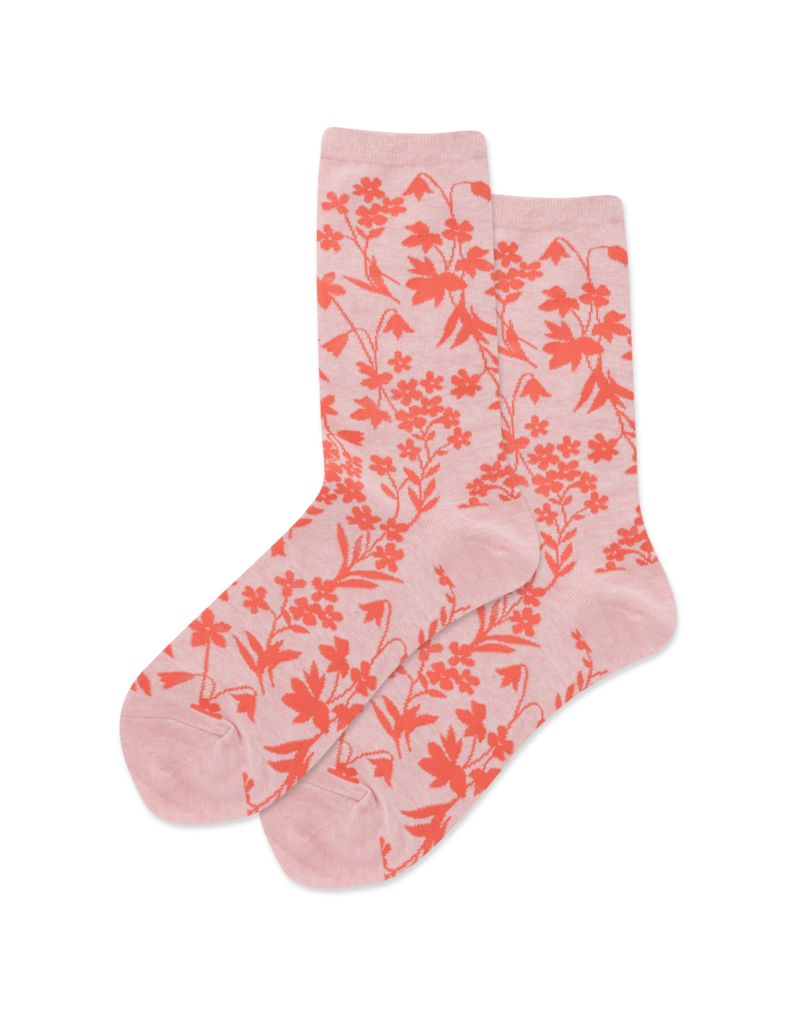 Hot Sox Hot Sox - Floral Pattern - Pink Heather - HSW10051 - Crew - Women's