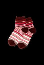 Hot Sox Hot Sox - Variegated Stripe - Burgundy - HSW30009 - Anklet - Women's