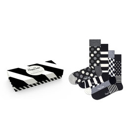 Happy Socks - Classic Black/White Gift Box - 4 Pack - Men's
