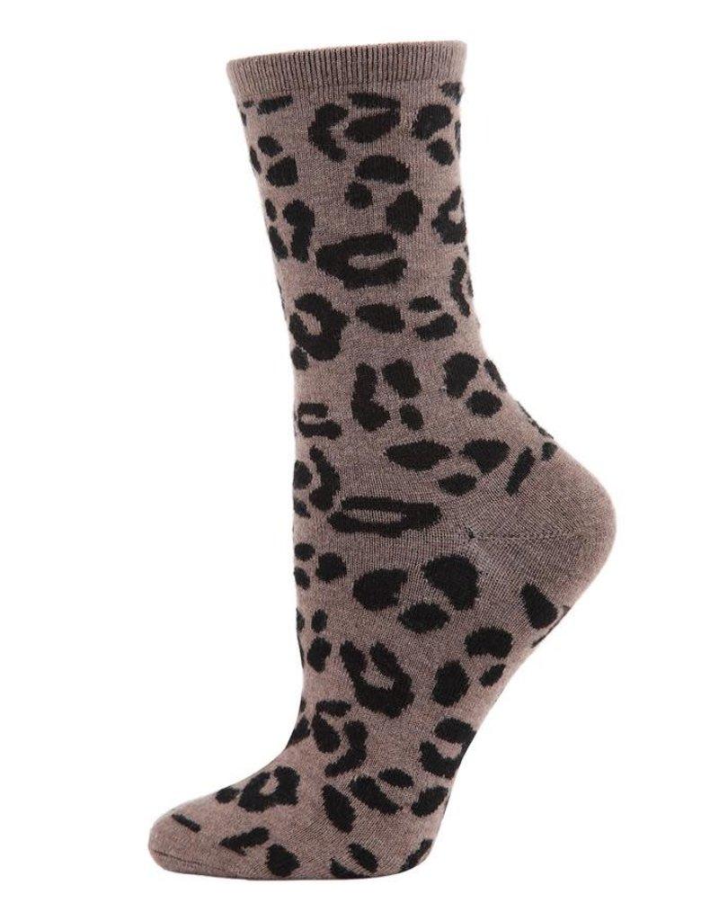 MeMoi MeMoi - Leopard Lovers Print Cashmere - Crew - Hemp Heather - MCF05862 - Women's