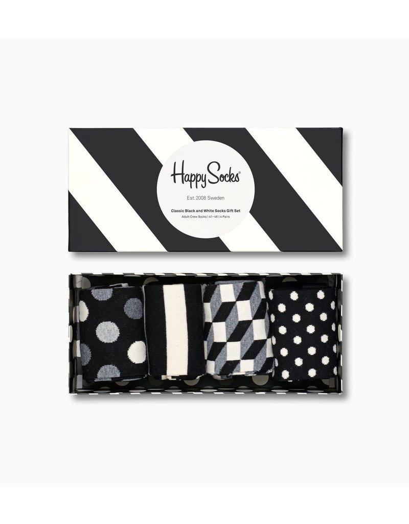 Happy Socks - Classic Black/White Gift Box - 4 Pack - Men's