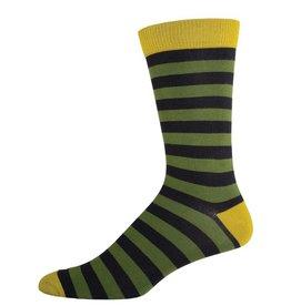 Socksmith Socksmith - Bamboo Stripe - Olive - MBC2 - Crew - Men's