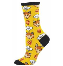 Socksmith Socksmith - Moody Cat - Yellow - WNC879 - Crew - Women's