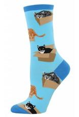Socksmith Socksmith - Cat In A Box - Azure - WNC765- Crew - Women's