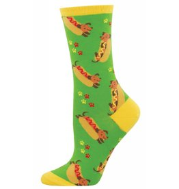 Socksmith Socksmith - Wiener Dog - Green - WNC1521- Crew - Women's