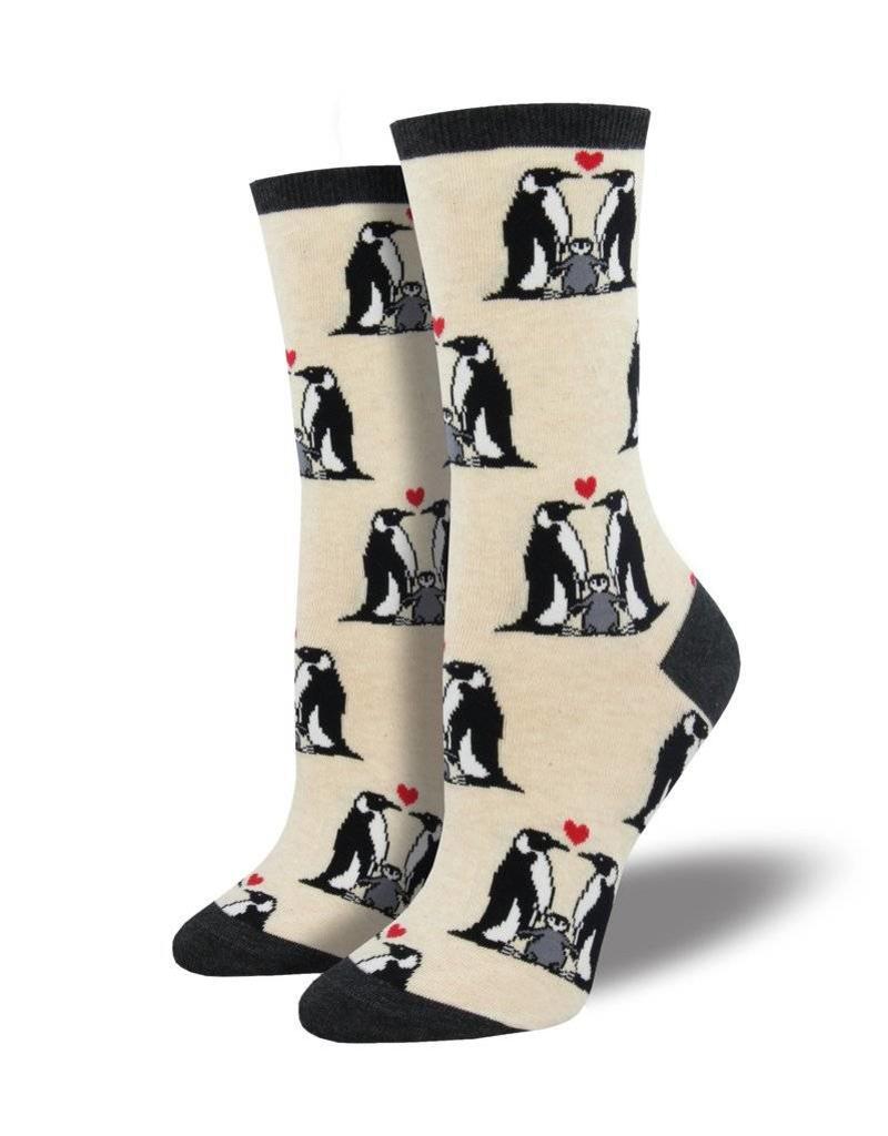Socksmith Socksmith - Penguin Love - Ivory Heather - WNC1589 - Crew - Women's