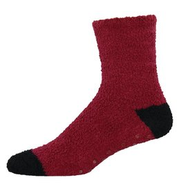 Socksmith Socksmith - Warm & Fuzzy with grippers - Brick/Black - MTC110 - Crew - Men's