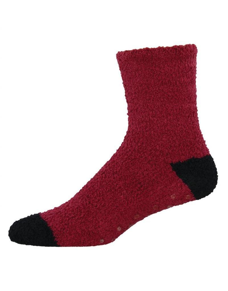 Socksmith Socksmith - Warm & Fuzzy  with grippers - Brick/Black - MTC110 - Crew - Men's