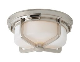 Large Milton Flush Mount Light in Polished Nickel and White Glass