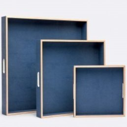 Made Goods Amina Shagreen Tray Navy- SMALL 12""