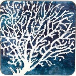 Rockflowerpaper Coral Indigo Coasters S/4