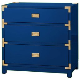 Bungalow 5 Victoria 3-Drawer Chest/Side Table- Navy