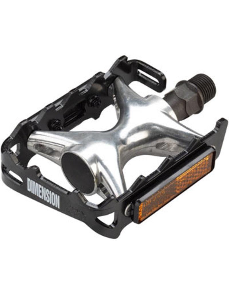 """Dimension Mountain Compe Pedals - Platform, Aluminum, 9/16"""", Black/Silver"""