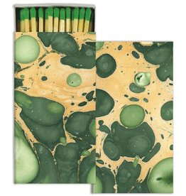 Marbleized Paper Matches Green