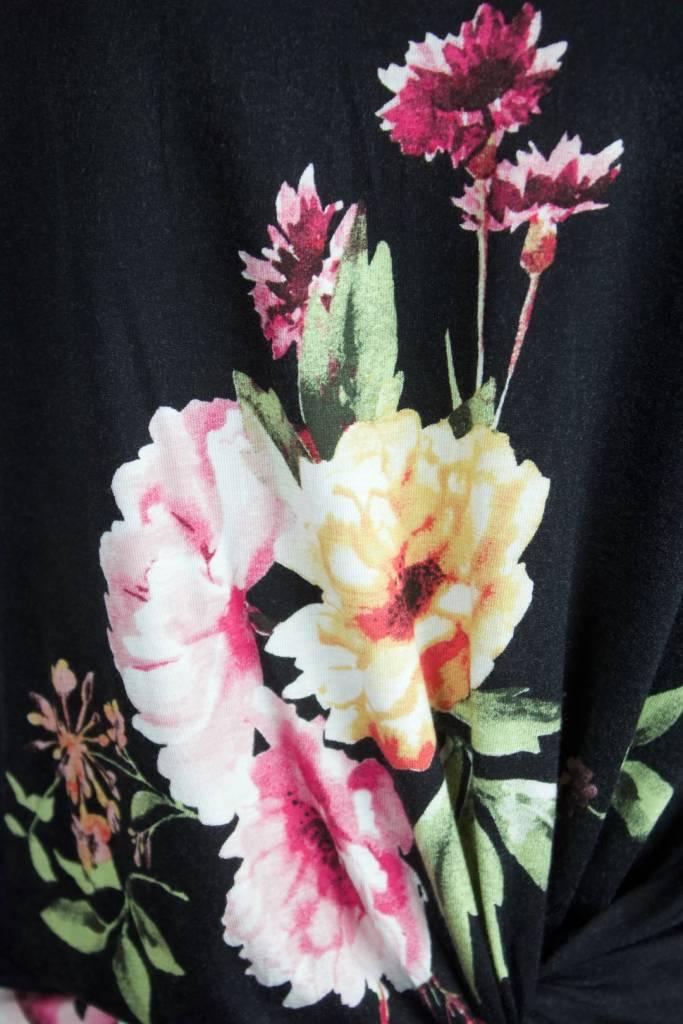 Twist Tee Black Floral