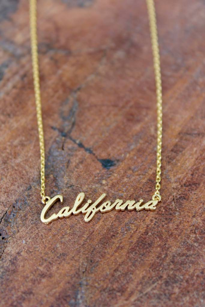 Cursive California Necklace