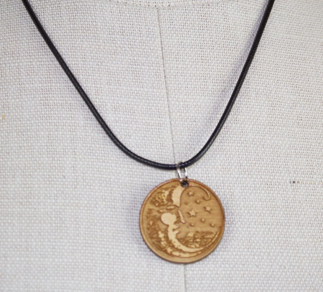 Woodcut Moon Pendant