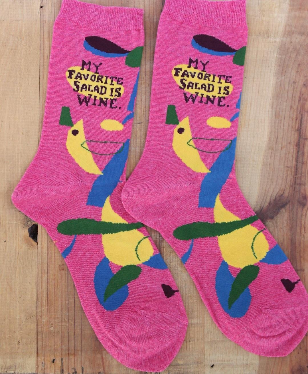 My Favorite Salad Wine Socks