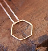 Open Hexagon Rose Gold Necklace