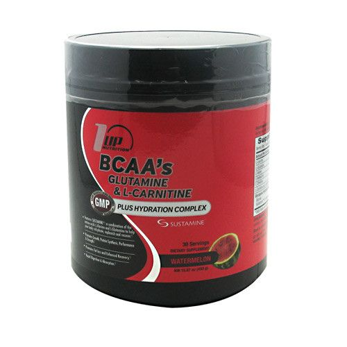 1UP 1 Up Nutrition BCAA's Glutamine and L-Carnitine WATERMELON 30 SERVINGS - South Florida Nutrition