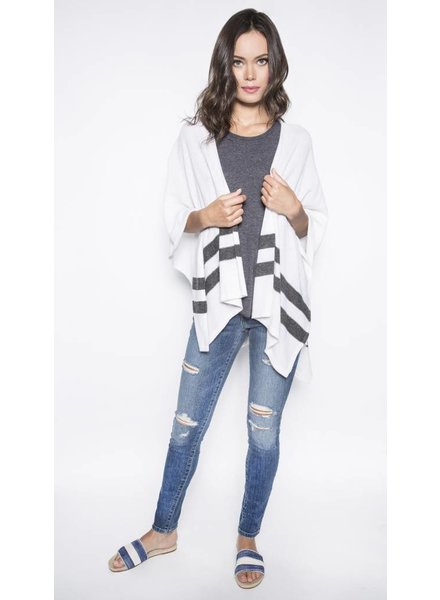 CHARLI BLACK & WHITE STRIPES PONCHO