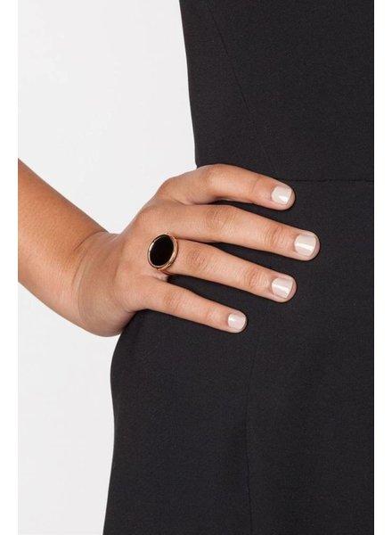 GINETTE NY Black Onyx Disc Ring 18K Rose Gold