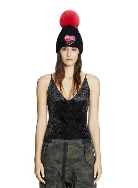 Jocelyn Furs Knit Hat W/Fox Pom Red