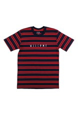 Welcome Welcome Scrawl Embroidered Striped Knit T-shirt - Navy/Red