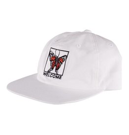 Welcome Welcome Butterfly Unstructured Snapback Hat - White/Black