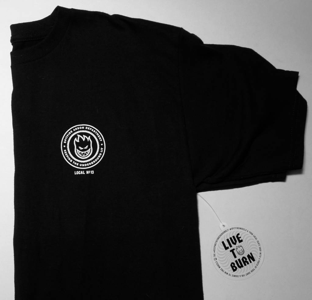 Spitfire FA x Spitfire T-shirt - Black (size Small)