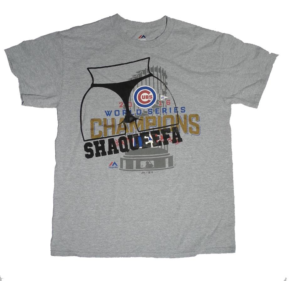 check out 6b322 a4306 Shaqueefa Chicago Cubs 2016 World Series Champions T-shirt - Grey (size  Medium)
