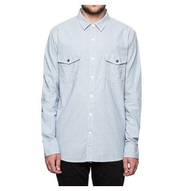 Huf Worldwide Huf Rush Hour Chambray l/s shirt - blue (size Small)
