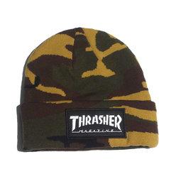 Thrasher Mag Thrasher Logo Patch Beanie - Camo