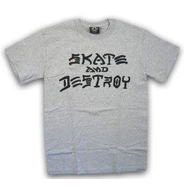 Thrasher Mag Thrasher Skate and Destroy T-shirt - Heather Grey (Size Large)