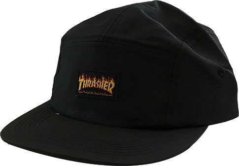Thrasher Mag Thrasher Flame Logo 5 Panel Hat - Black - FA SKATES 85c15931a20