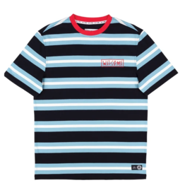 Welcome Welcome Medius Stripe Knit T-Shirt - Black/Blue