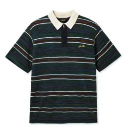 Butter Goods Butter Goods Schmidt Zip Polo Shirt - Navy/Forest/Brown