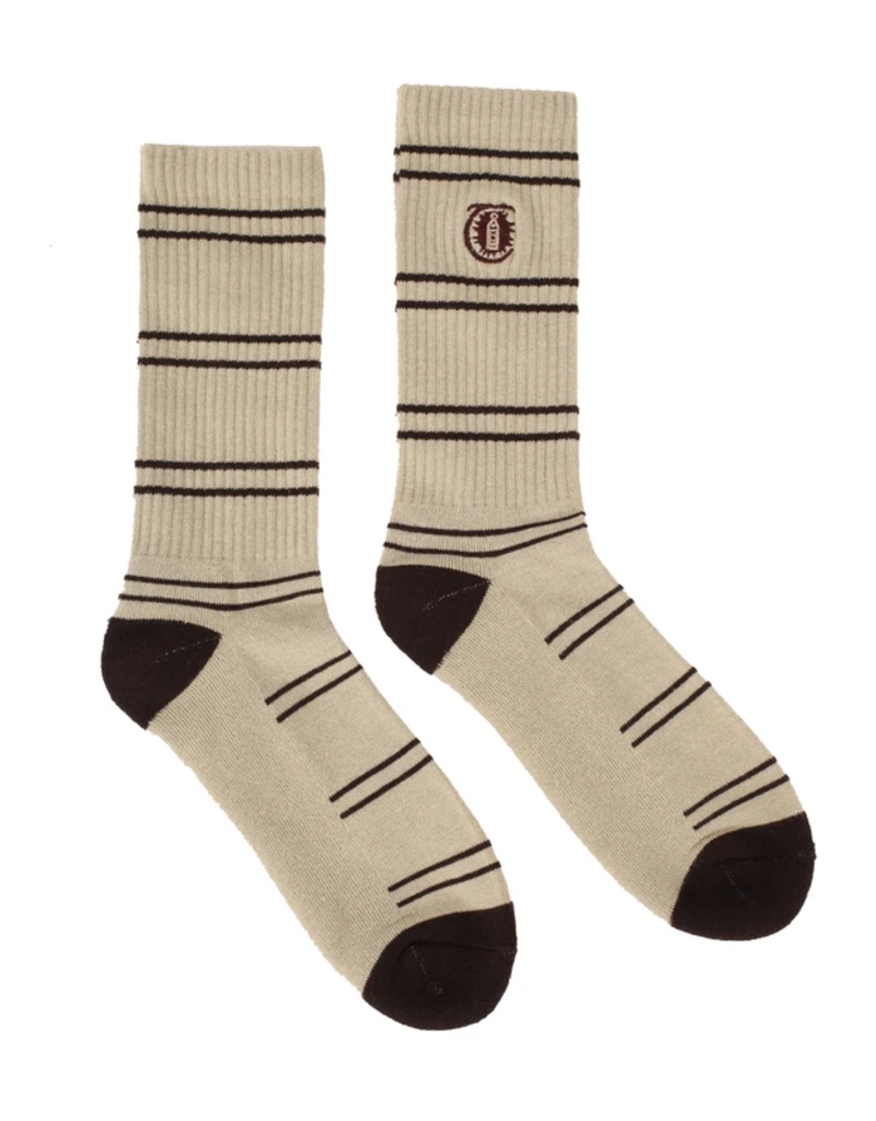 Theories Brand Theories Lantern Stripe Crew Socks - Beige/Brown