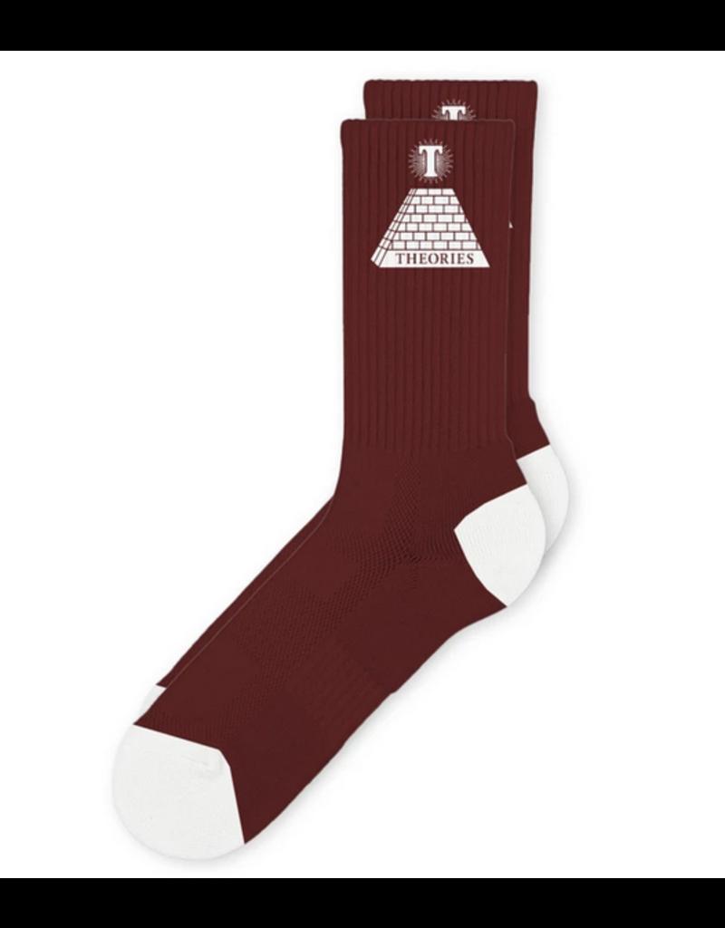 Theories Brand Theories Theoramid Crew Socks - Burgundy