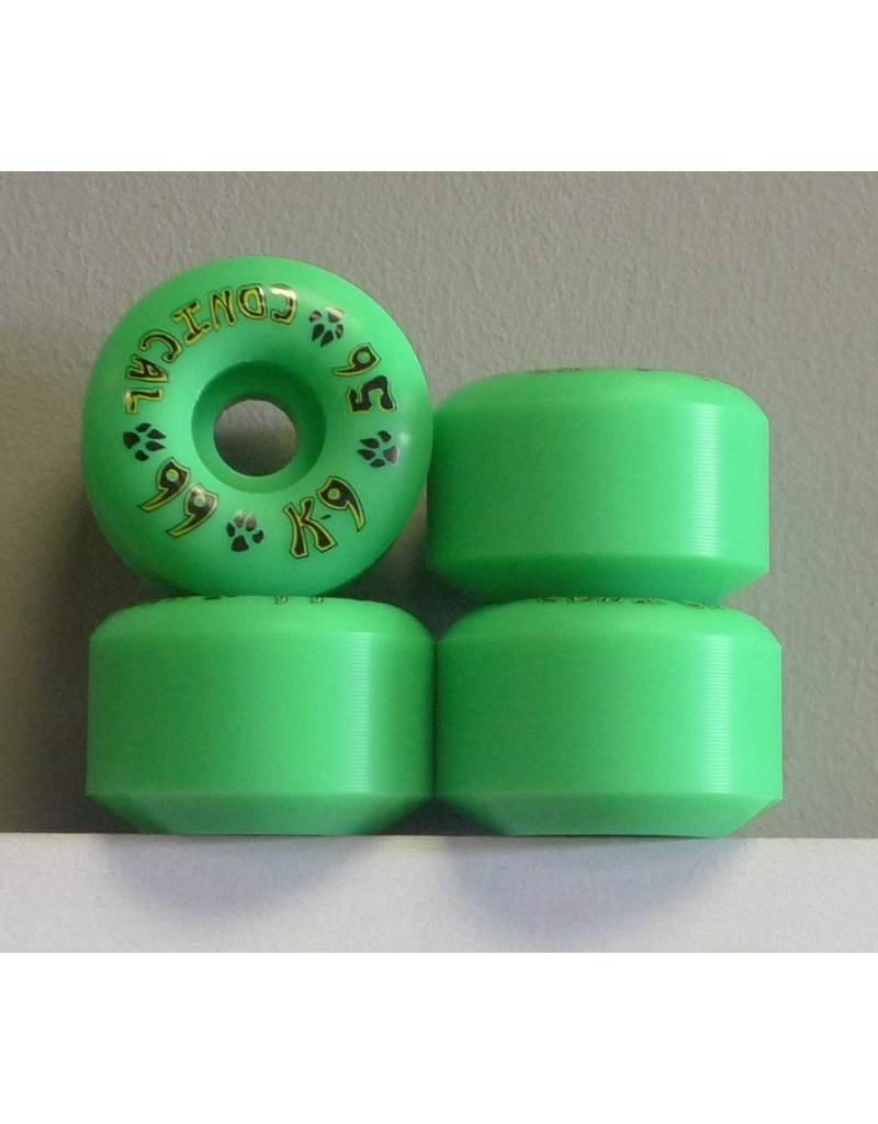 Dogtown Dogtown K-9 Conical Green 65mm 99a Wheels (Set of 4)