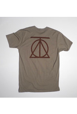 Theories Brand Theories Crest T-shirt - Warm Grey/Crimson  (size Medium or X-Large)