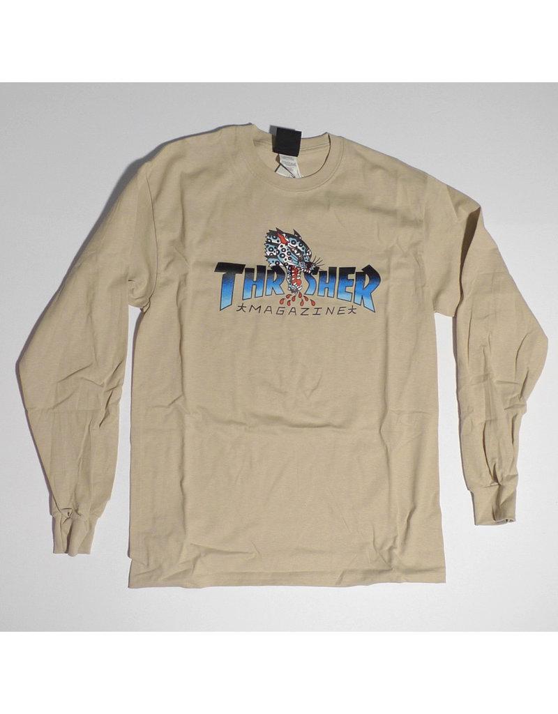 Thrasher Mag Thrasher Leopard Mag Long Sleeve T-shirt - Sand