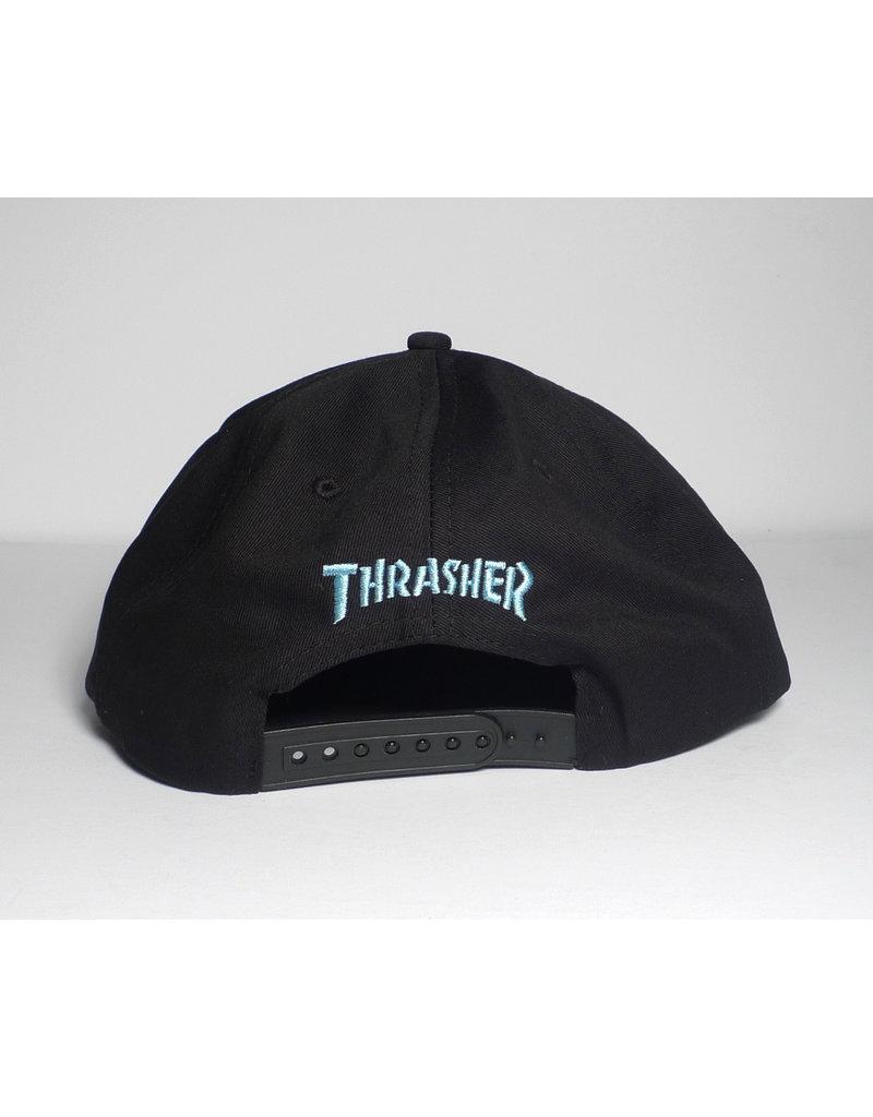 Thrasher Mag Thrasher Leopard Mag Snapback Hat - Black