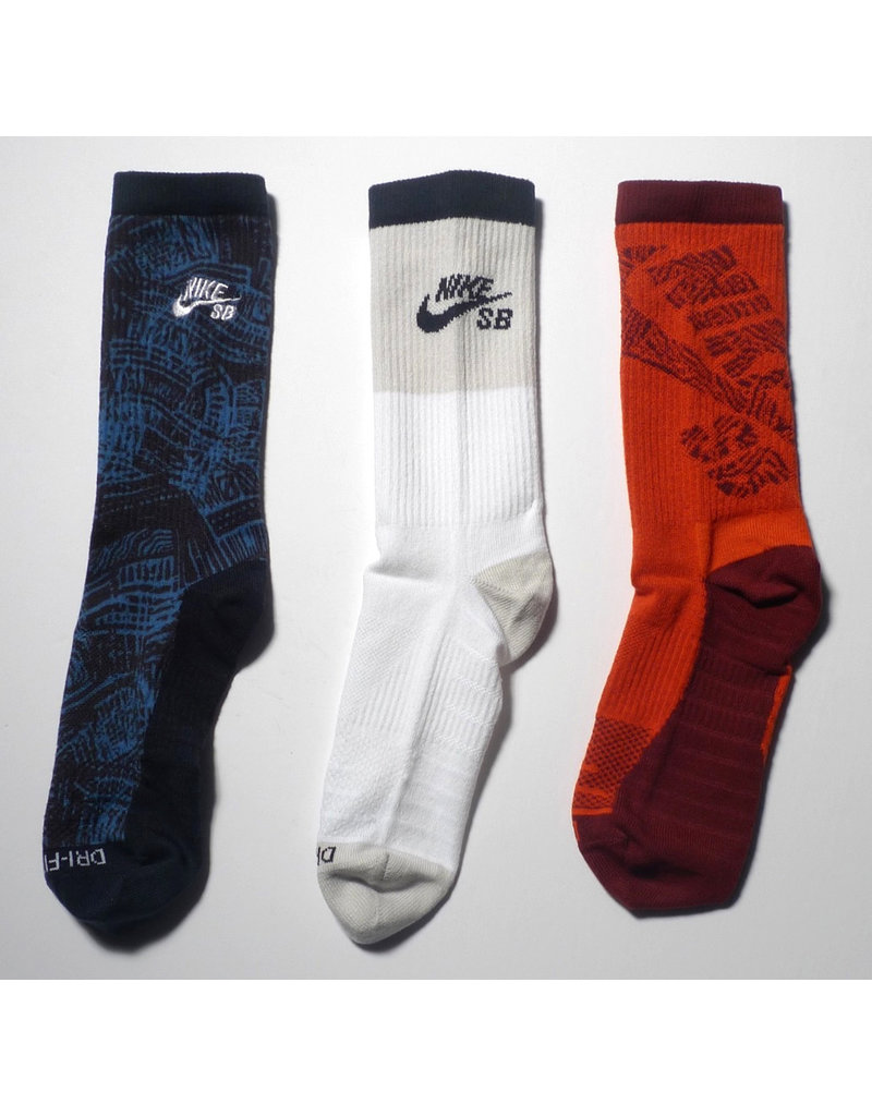 Nike SB Nike sb Everyday Max Lightweight Crew Sock (3 Pack) - Blue/White/Red