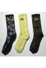Nike SB Nike sb Everyday Max Lightweight Crew Sock (3 Pack) - Floral/Lime