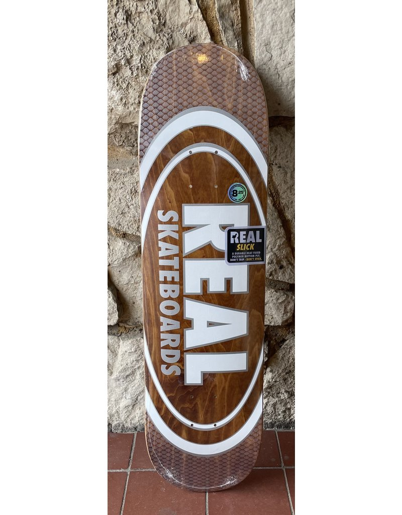 Real Real Team Oval Pearl Patterns Slick Brown Stain Deck - 8.25 x 32
