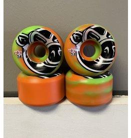 Pig Pig Head C-Line Swirl Green/Orange 54mm 101a Wheels (Set of 4)