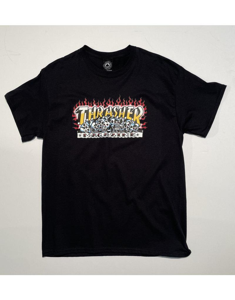 Thrasher Mag Thrasher Krak Skulls T-shirt- Black